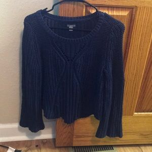 Navy Bell Sleeve Sweater